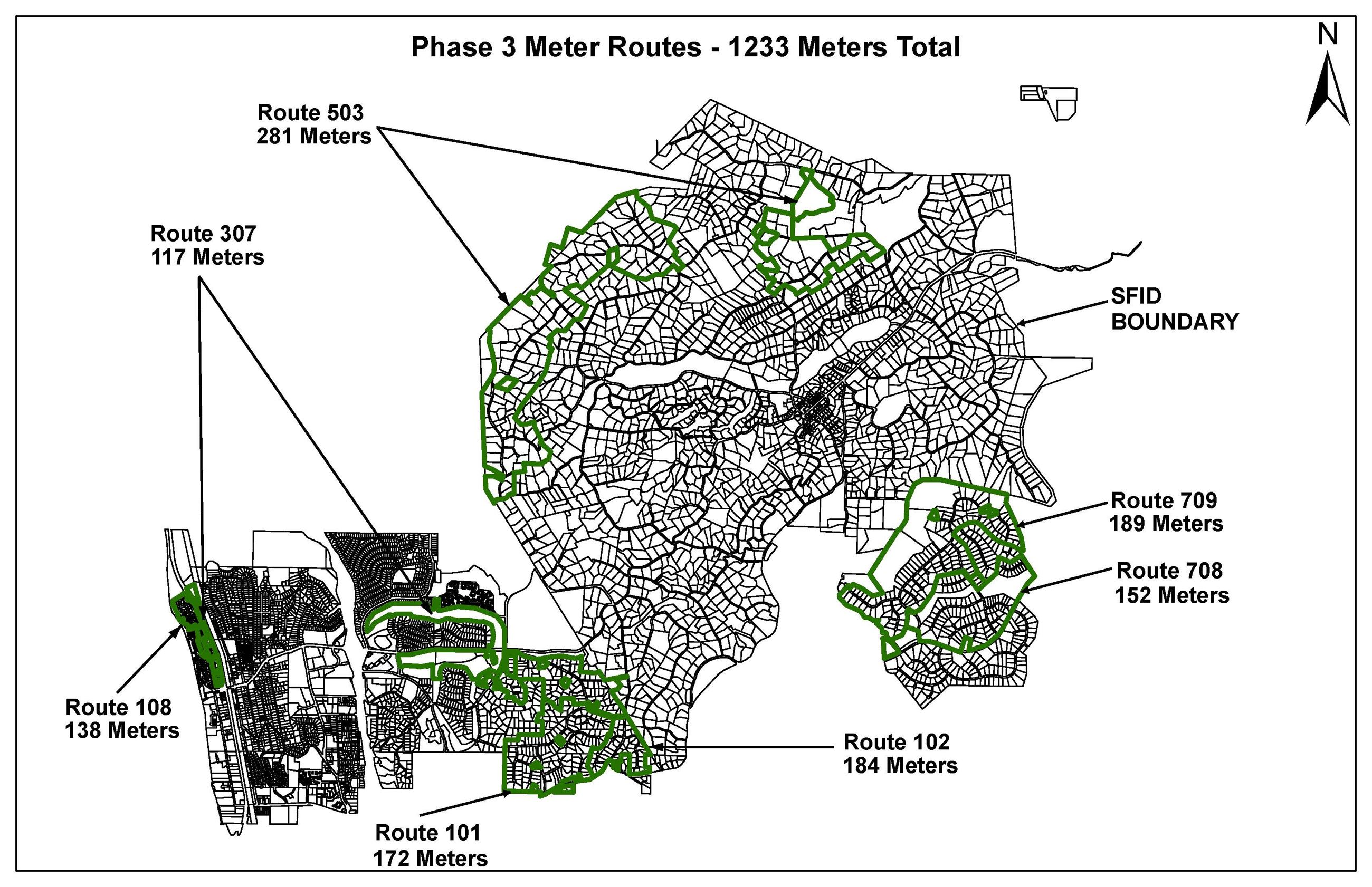 Map of the locations phase 3 will be installing meters
