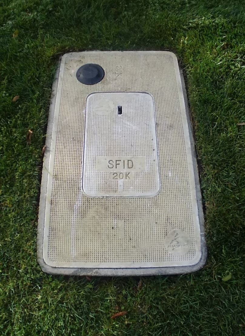 Water meter box with a closed lid and rubber circle