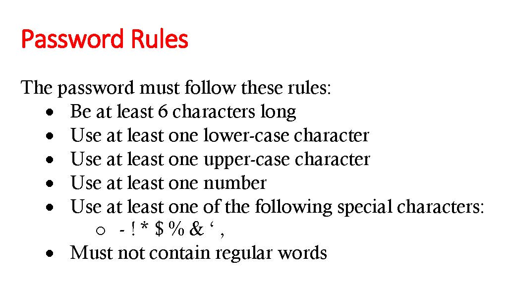 Password Rules regarding sign-up for customer online portal